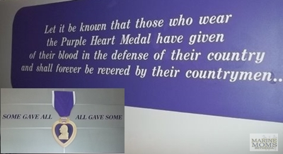 Purple Heart signs at Walter Reed