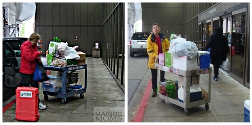 Deb and Dina unloading the cars. A few years back these carts would be crammed full and stacked 3 feet high and we'd make three or four trips with them, unloading the cars.