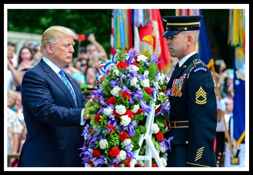 President Donald J. Trump lays a wreath at the Tomb of the Unknown Soldier, in honor of Memorial Day, at Arlington National Cemetary, in Arlington, VA, May 29, 2017. (U.S. Army photo by Sgt. Michel'le Stokes)