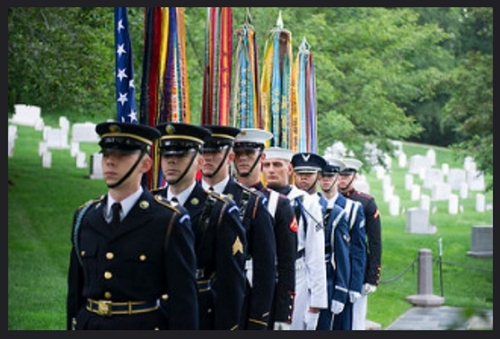 An Armed Forces Full Honors Wreath-Laying Ceremony at President John F. Kennedy's gravesite in Arlington National Cemetery, May 29, 2017, in Arlington, Va. The wreath-laying marked Kennedy's 100th birthday. (U.S. Army photo by Elizabeth Fraser/Arlington National Cemetery/released)