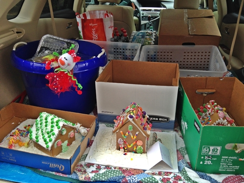 Katie's car loaded with the gingerbread houses.